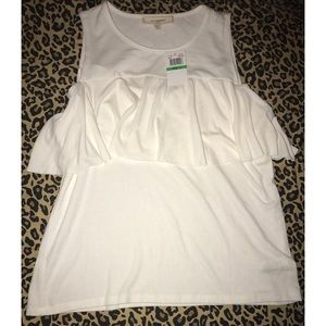 no comment Tops - White Ruffle Tank Top